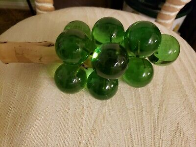 MCM Mid Century Modern Lucite Grapes on Drift Wood, Green  9.5 long 5. W