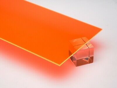 "Acrylic Orange Fluorescent Plexiglass .125/"" 1//8/"" x 24/"" x 48"" Sheet #6330"