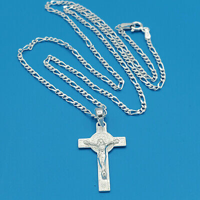 """Real Sterling Silver 925 Saint Benedict and Jesus Crucifix  20"""" Chain. Men Women"""