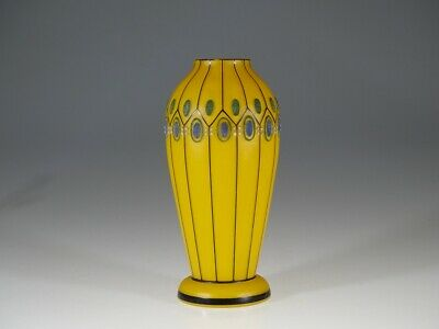 Vintage Deco Czech Glass Orange Vase with Stripes & Coralene Decoration c.1935