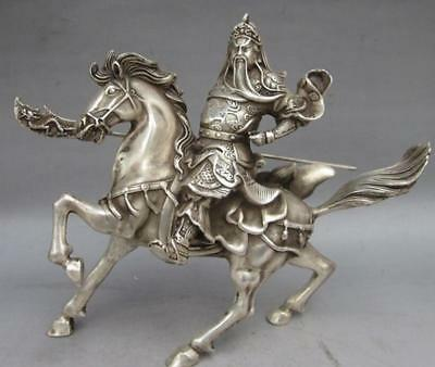 CHINESE OLD COLLECTABLE TIBET SILVER copper WARRIOR GOD GUAN YU STATUE