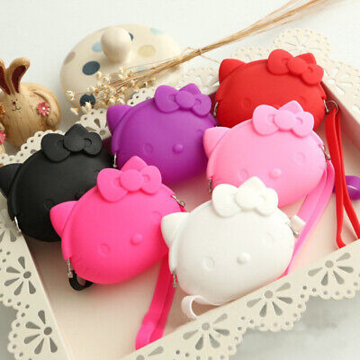 Cute Hello Kitty Soft Wallet Purse Little Coin Key Cable Storage Bag with Straps