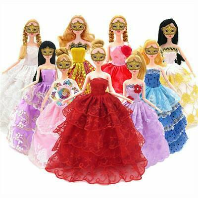 Wholesale 10Pcs Party Dresses Clothes Gown For Barbie Dolls Toys Girl's Gifts