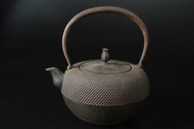 T7399: Japanese XF Iron Arare pattern TEA KETTLE Teapot Tetsubin Tea Ceremony