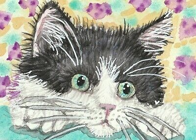 Black white kitten cat watercolor ACEO original painting