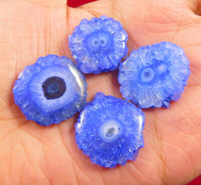 70 Cts. Natural Dyed Blue Solar Druzy Agate Lot Loose Cabochon Gemstone NG1170