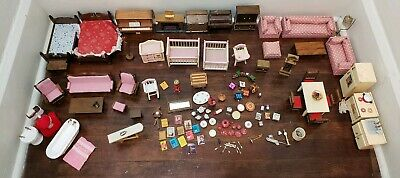 Wooden Miniature Dollhouse Furniture and Accessories Lot