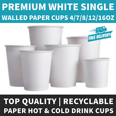 Single Wall White Paper Hot Cups Disposable 7/8/12/16oz for Hot/Cold Drinks