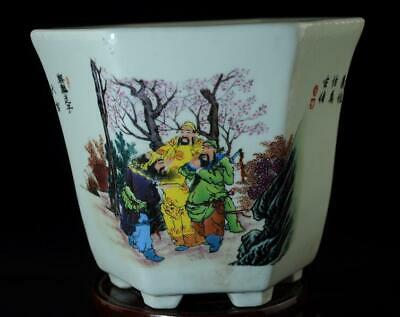 China Old Hand-made Pastel Porcelain  Hand Painted Taoyuan Knot Flower Pot C01