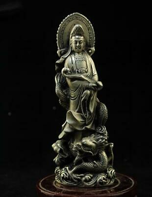 chinese old  copper-plating silver hand engraving guanyin statue d02