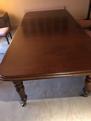 Large Victorian Mahogany Dining Table Extends To 3m Long X 1.4m Wide. Seats 12.