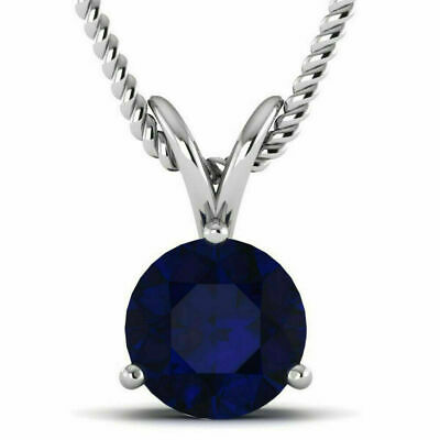 14K White Gold Over 1.50 Ct Round Cut Blue Sapphire Solitaire Pendant.