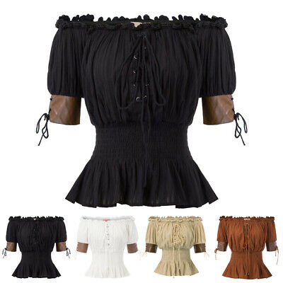 Gothic Victorian Steampunk Pleated Ruffles Shirt Blouse Off Shoulder Punk Tops