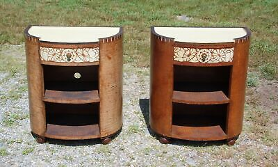 Vintage Pair Rustic Distressed Painted Birch Bark Demilune Nightstands End Table