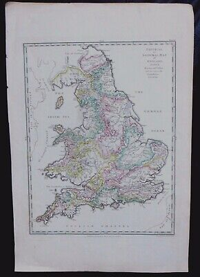 Vintage Antique Georgian Map, Physical or Natural Map of England, J Andrews 1797