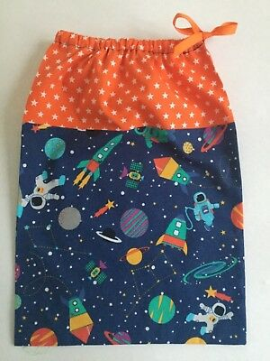 Fabric bag drawstring Outer Space theme shoes nappies toys Gift Handmade Boy