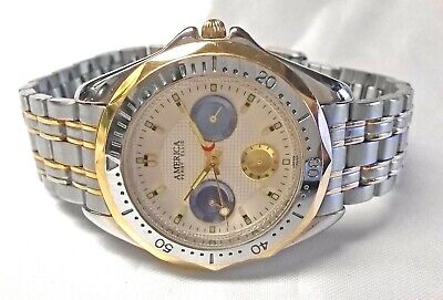 Perry Ellis America Day Date Watch Two Tone Rotating Bezel Sub Dials 37mm Men