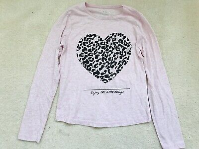Girls Pink Animal Heart Print Long Sleeve Top Age 10-11 Years From Primark