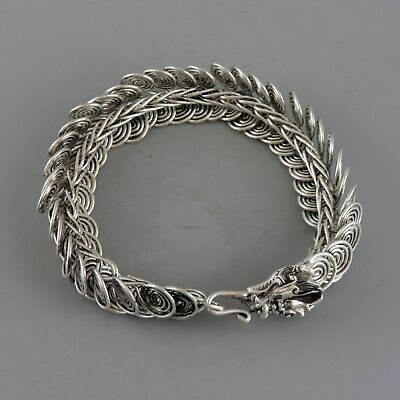 Collectable Old Miao Silver Hand-Carved Myth Dragon Auspicious Delicate Bracelet