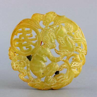 Collectable China Old Jade Hand-Carved Monkey Eat Flat Peach Auspicious Pendant