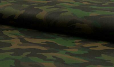 PU Leather Look Cloth Upholstery Fabric Material CAMOUFLAGE - DK ARMY