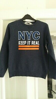 H&M Blue Fleck NYC Crew Neck Sweatshirt - 10-12 Years