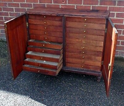 Victorian antique country house solid oak collectors chest cabinet 20 drawers