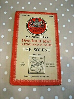 1947 Ordnance Survey #180 Popular Edition One Inch map of the Solent