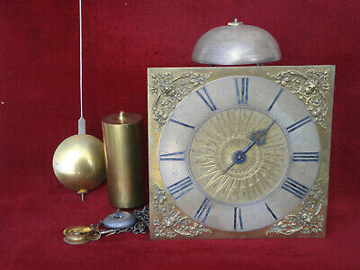 18 Th C Hook And Spike Wall Clock With 10 In Dial With Sunburst Centre Gwo