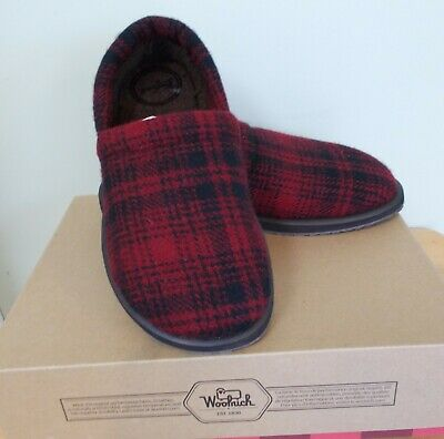 Woolrich Mens Chatham Chill II Moccasin Slippers, Red Plaid, Wool, US 8 / EU 41