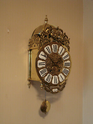 18Th C French 8 Day Brass Lantern Clock  Later 19Th Movement Dated 1787 Gwo