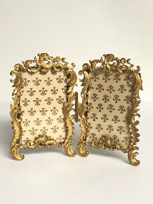 Antique French Gilt Metal Ornate Double Picture Frame