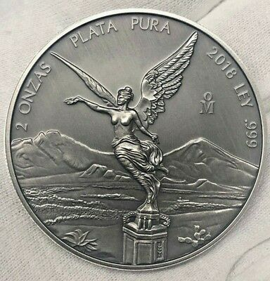 LIBERTAD - MEXICO - 2018 2 oz Silver ANTIQUED Coin in CAPSULE