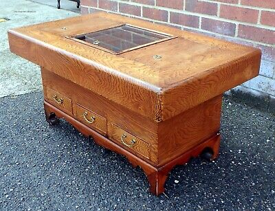 Antique Japanese figured elm copper hibachi coffee occasional side table planter