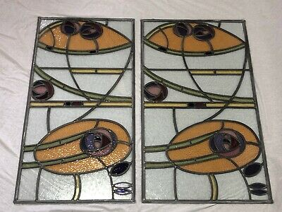 2 Architectural Antique Arts & Crafts Bullseye's Leaded Glass Window Door Frames