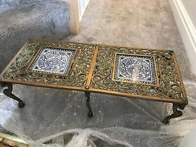 Brass Fireplace Pot Stand Minton Hollins Tiles  Period Vintage. Accessory