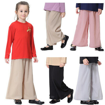 Autumn Trousers Pants Loose Elastic Waist Long Toddler Palazzo Wide Leg