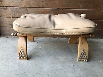 Khaki Tan Camel Saddle Vinyl Refurbished Foot Stool Middle East Turkey Egypt