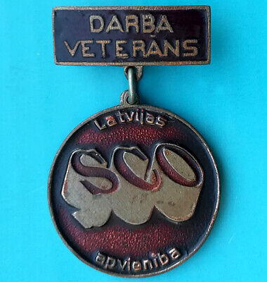 Labour veteran of SCO Latvian assotiation - USSR Soviet Latvia award pin badge