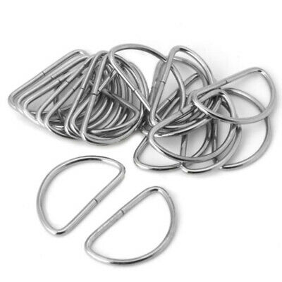 20pcs Silver D-Ring Buckle Fit For12 15 20 32 38mm Strapping Webbing Leather Bag