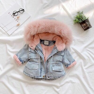 Baby Girls Coat Cotton-padded Jeans Thick Winter Jacket With Fur Cute Gifts Pink