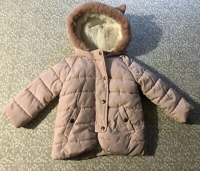 Marks And Spencer Girls Pink Winter Coat Size 1/1.5 Years