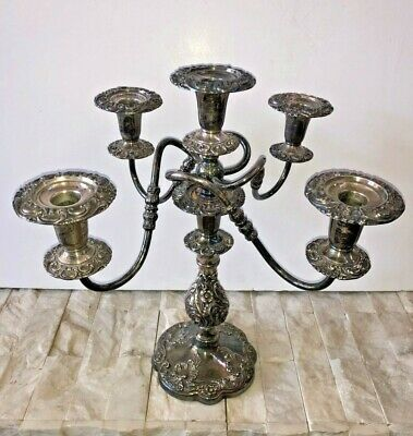 "Ornate Antique The Sheffield Silver Co. Candelabra 17"" Tall Five Candle 1114 USA"
