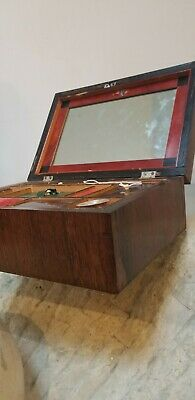Antique Rosewood Travel Lap Desk Writing Box