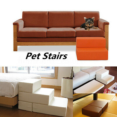 2 Steps PU Leather Pet Dog Cat Stair Portable Folding Climb Ramp Easy Up