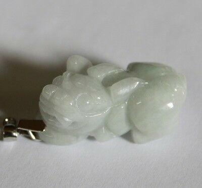 Gemstone Natural Jadeite Grade A Untreated Light Green JADE Carved PiXiu Pendant