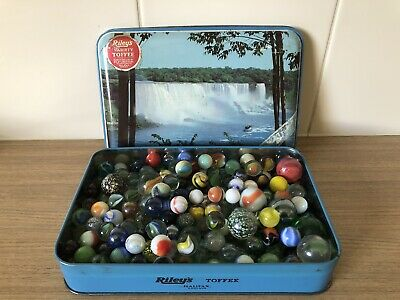 Vintage Niagara Falls toffee tin full of mixed glass marbles old and new 1.5 kg
