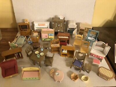 HUGE Calico Critters Mix Lot Epoch, Sylvanian Families  Of Adorable Furniture !!