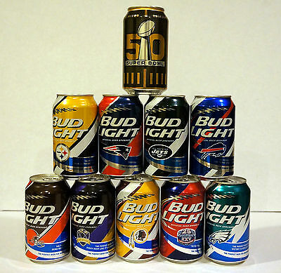 2015 NFL Kickoff Limited Edition by Bud Light - A Set of Ten Empty NFL Beer Cans