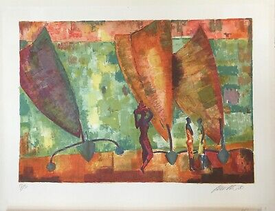 Wolf Reuther - Estampe originale - Lithographie - Les pirogues africaines